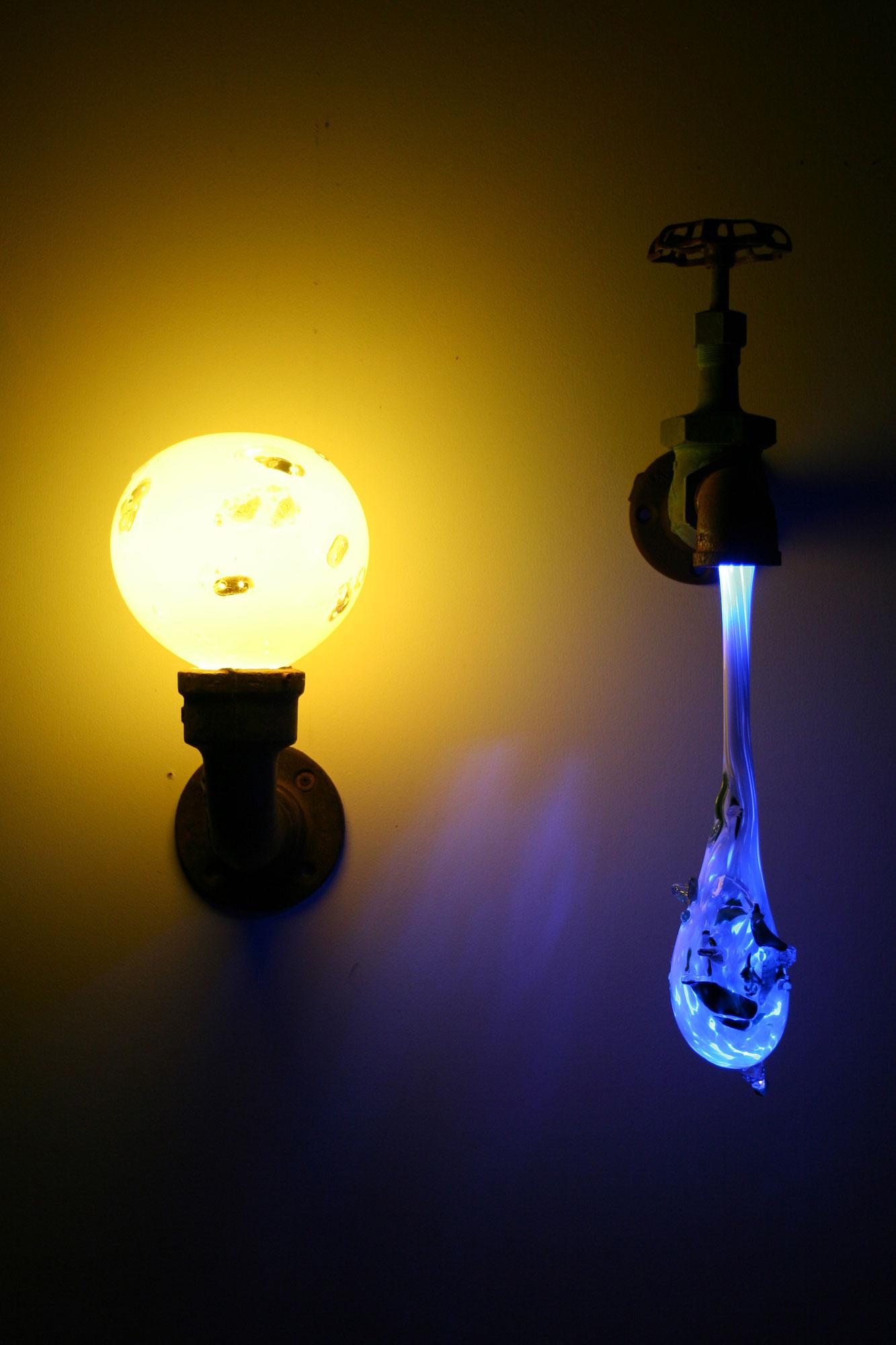 Original liquid light custom blown glass sconce