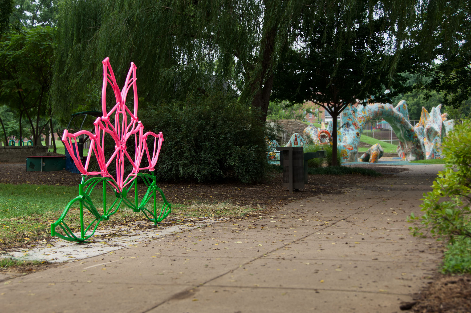 Original custom public art installation made of recycled/repurposed materials for a public park in downtown Nashville, TN