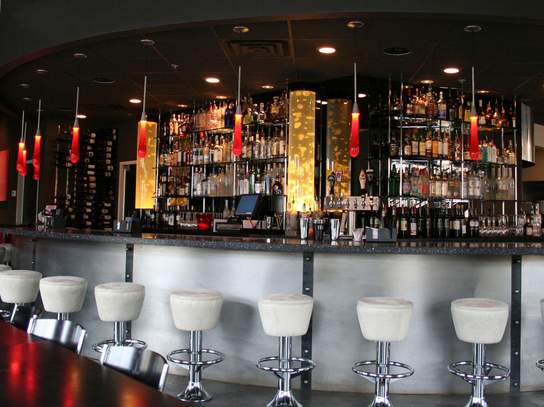 Original liquid light custom blown glass, sconces in a restaurant bar