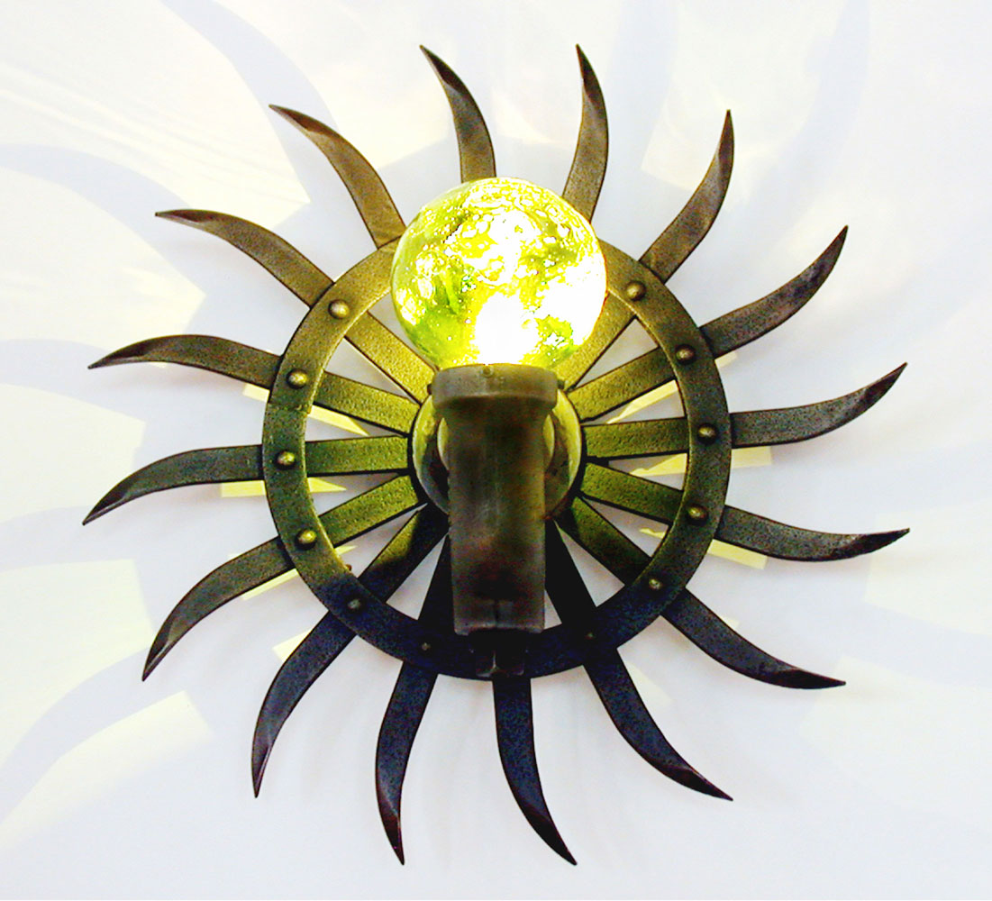 Original liquid light custom blown glass, pipe and wood sconce
