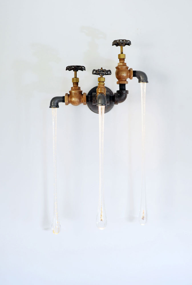 Original liquid light custom blown glass, pipe and wood sconce