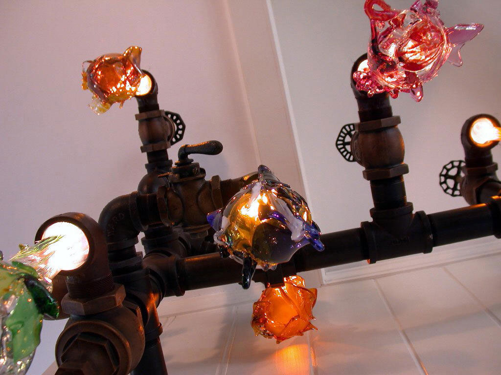 Original liquid light custom blown glass chandelier