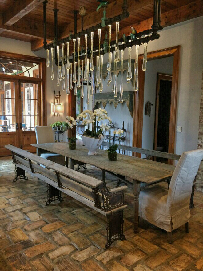 Original liquid light glass custom chandelier installation in a private residence