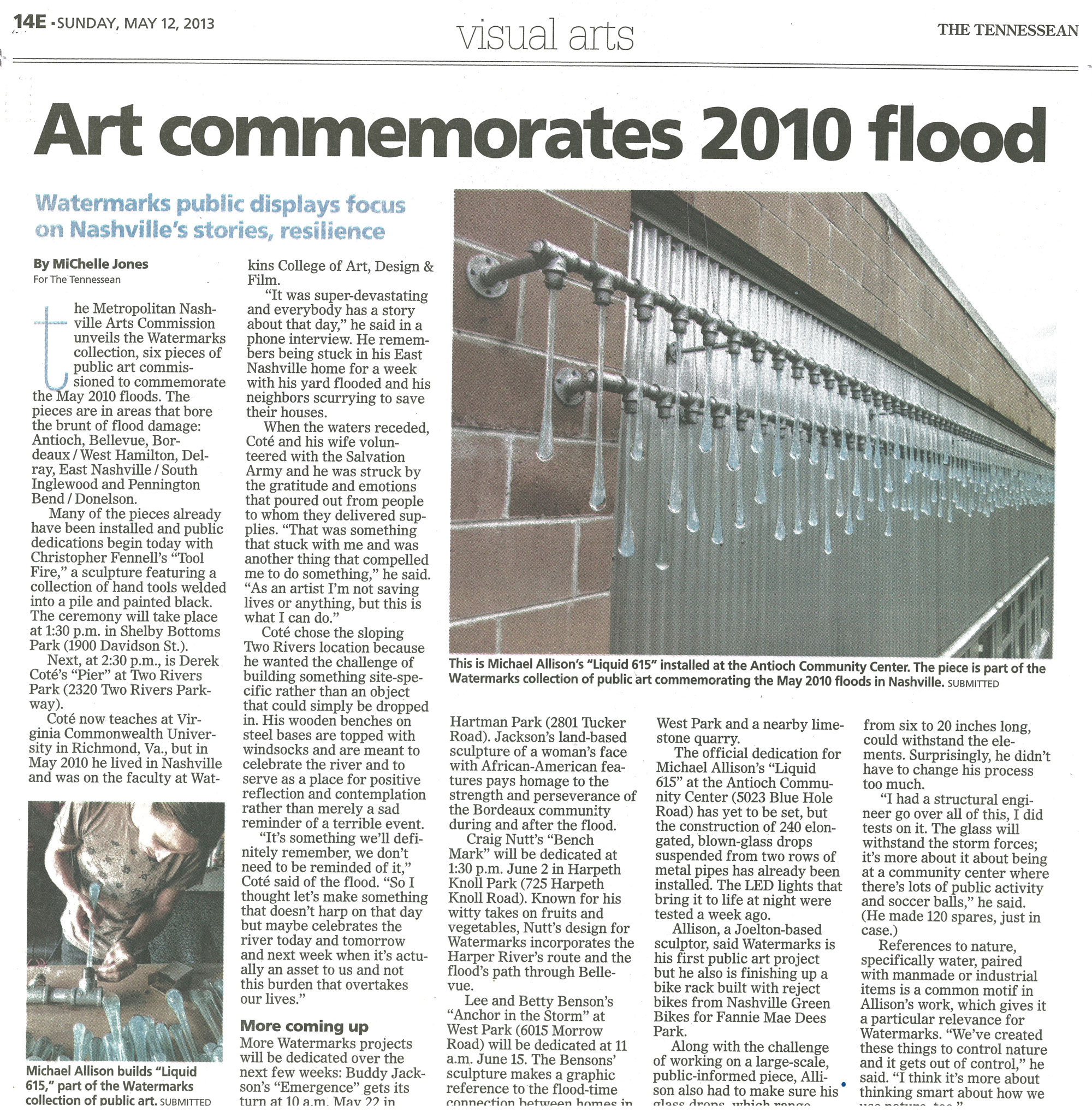 Michael Allison's original liquid light fluid glass art featured in The Tennessean print edition, May 12, 2013